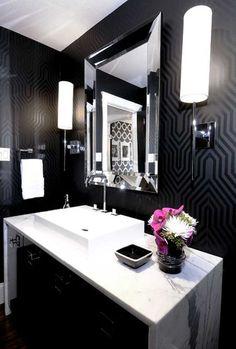 Gorgeous black patterned wallpaper, white marble vanity. So glamorous!
