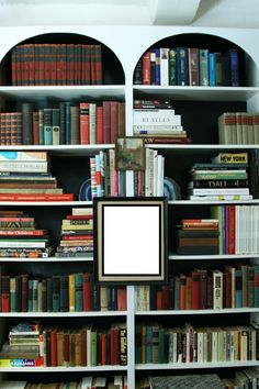 Hang or Rest Art on Bookshelves