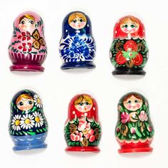 Assorted Matryoshka Magnets Set is a set of 6 assorted fridge magnets which are made in shape of a Russian matrioshka nesting doll. Each magnet is made of wood, than hand-painted and finished with glossy lacquer. Russian Santa, Pig Family, Matryoshka Doll, Inexpensive Gift, Fabric Textures, Easter Gift, Wedding Favors, Magnets, Hand Painted