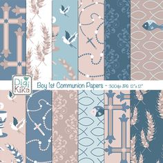 Boy First Communion Digital Papers