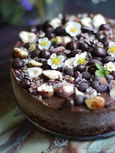 Raw Chocolate Hazelnut Cheesecake: A delicious raw vegan chocolate hazelnut cheesecake that only takes minutes to put together. Raw Vegan Cake, Raw Vegan Desserts, Raw Cake, Raw Vegan Recipes, Vegan Sweets, Healthy Desserts, Vegan Raw, Vegan Cupcakes, Vegan Meals