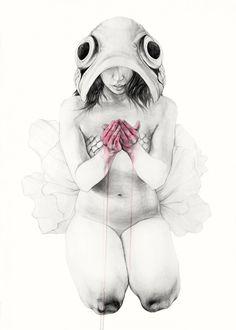 Elisa Ancori est une jeune illustratrice espagnole tout juste diplômée d'une licence en beaux-arts de l'université de Barcelone. Elle a déjà plusieurs expositions à son actif, elle est coauteur d'un fanzine et multiplie des projets personnels dont Metamorfish. Ses œuvres s'articulent autour de la connexion entre la nature et l'homme. Une fusion du corps et de l'âme, une recherche permanente de cet équilibre. Les illustrations sont à couper le souffle de finesse, de détails et de matière !