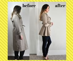 Check out the trench coat refashion I did on a coat I inherited from my sweet grandmother! Check out the trench coat refashion I did on a coat I inherited from my sweet grandmother! Sewing Hacks, Sewing Tutorials, Sewing Tips, Sewing Patterns Free, Free Sewing, Clothes Patterns, Alter Pullover, Diy Kleidung, Diy Vetement