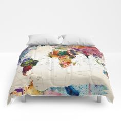 Map Comforter for a Airplane, Dorm or Travel Themed Room, Full, Queen and King.  Matching Accessories Available.Collections By Broadenmyhorizon | Society6