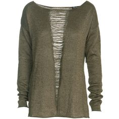 Elizabeth and James Pullover Belinda Knit pullover in torn-look (€329) ❤ liked on Polyvore featuring tops, sweaters, shirts, long sleeves, women, loose knit sweater, loose long sleeve shirt, brown long sleeve shirt, ripped shirt and brown sweater