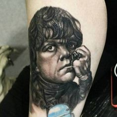 Black and Grey realism portrait of Tyrion Lannister in all his...