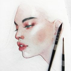 Hieu Nguyen, better known by his alias Kelogsloops, is an Australian watercolor artist. Kelogsloops also makes digital drawings. Watercolor Artist, Watercolor Face, Watercolor Art Paintings, Watercolor Portraits, Watercolor Illustration, Watercolor Trees, Simple Watercolor, Watercolor Landscape, Tattoo Watercolor