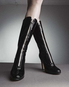 Valentino Rebelle front-zip patent leather boots, photographed by Liz von Hoene for the September issue of The Book.