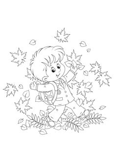 Leaf Coloring Page, Fall Coloring Pages, Coloring Pages For Kids, Coloring Books, Paper Quilling Patterns, Felt Crafts, Diy Crafts, Digi Stamps, Colorful Pictures