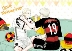 Ich liebe das! WELTMEISTER! WUHUU! >> Haha, Gilbert and Ludwig  wearing Goetze and Klose's jersey...