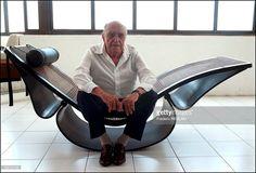 "Brazilian Architect Oscar Niemeyer, sitting on his ""Rio"" rocking chaise, in his Copacabana Studio on March 14th, 2002 in Rio de Janeiro, Brazil"