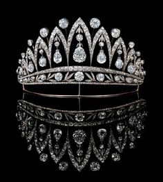 """Diamond tiara made by August Holmström for Fabregé (1890); owned by Queen Consort Marie José of Italy. (Sometimes referred to as the """"Empress Josephine Tiara,"""" because the diamonds were a gift from Tsar Alexander I of Russia to Empress Josephine.) (image © by Christie's)"""