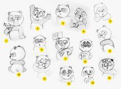 Panda Stickers Set for IM: Sketches / Bogdana Serebriyan for Mail.Ru