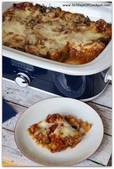 Recipe for Slow Cooker Pesto Mushroom Lasagna