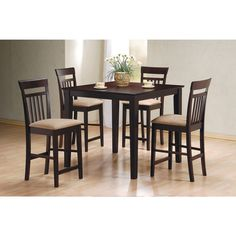 Coaster Company Cappuccino 5 Piece Dining Set (Cappuccino Counter Height  Table), Brown