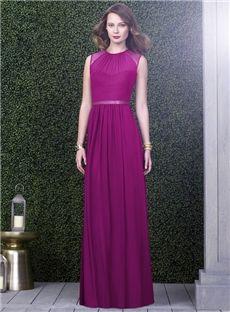A-Line Scoop Graceful Floor-Length Purple Bridesmaid Dress Cairns