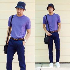 Get this look: http://lb.nu/look/6923198  More looks by Emerson C: http://lb.nu/minimalson  Items in this look:  Topman Bucket Hat, Topman T Shirt, Forever 21 Chinos, Kenneth Cole Watch, Pierre Cardin Bag, Crocs Shoes   #ootd #ootdmen #summer #casual #outfit #style #purple #navy #streetwear