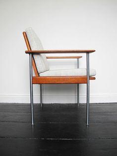 Vintage teak & steel re-upholstered desk chair...who needs a desk!