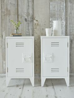 Industrial chic for the bedroom! These stylish white wooden bedside cabinets are reminiscent of old school lockers.