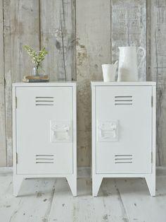 Industrial Bedside Cabinets - White, from Nordic House Idea para pintar el archivero, mas la estanterìa blanco mate .esmalte