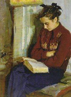 Oksana Dmitrievna Sokolovskaya (Russian, 1917-1999) - Reading by the oven (1961)