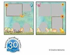 Easter, Two Page, Eight Photo Layout, Three Square Photos, One Vertical Photo, One Horizontal Photo, Three Oval Photos