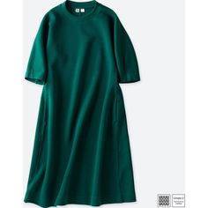 UNIQLO Women's U Wool-blend Sweatshirt 3/4 Sleeve Dress (2.320 RUB) ❤ liked on Polyvore featuring dresses, green, three quarter dresses, flared dress, mixed print dress, print dress and three quarter length sleeve dress
