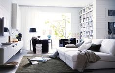 IKEA Share Space--Contemporary summertime living room: Contemporary design employs a less structured, more casual feel. Using various textures in a light or neutral color can keep the design fresh and bright. -