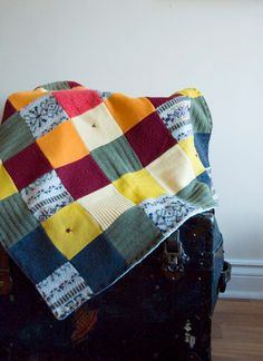 Upcycled blanket out of wool sweaters. Time for a thrift store run. #diy