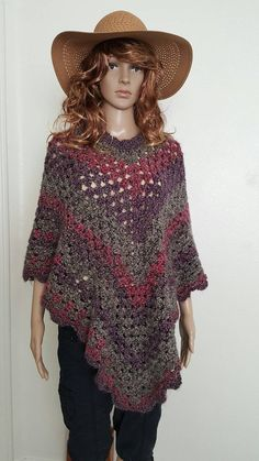 Save $15 when you enter coupon code SAVE15!     Beautiful crochet poncho or shawl that has a real pretty pattern with scalloped edges. It is perfect for those cold months and even during fall or spring with a tank top or small T-Shirt, which is the way that I like to wear it!     The purple multi - color is called Greystone Stripes and the orange - multi color is called Painted Desert. Please choose custom and specify in the note to seller what color/colors you prefer. Please scroll down to…