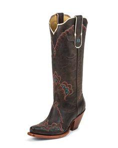 Women's Black Label Worn Goat Western Boot, Chocolate