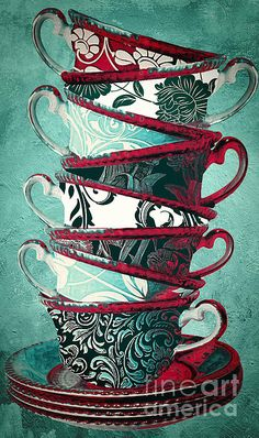 Green & Red Teacups