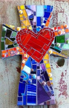Large Mosaic cross with heart multicolored by Caroline C. ❦