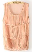 Pink Sleeveless Rivet Tassel Chiffon Vest