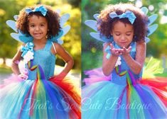 Rainbow Pony Dash Tutu Dress-rainbow, my little pony, horse, unicorn, birthday, turquoise, tutu dress, tutu, party, fun, bright