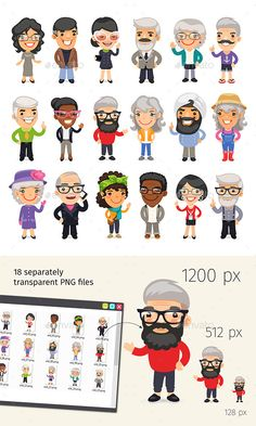 Casually Dressed Old People - People Character Design Vector EPS, Vector AI. Download here: http://graphicriver.net/item/casually-dressed-old-people/16422389?ref=yinkira