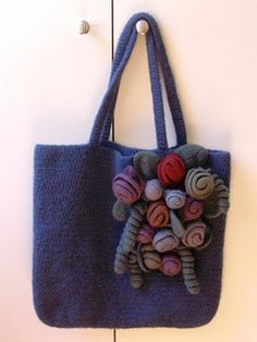 Felted Crochet Rose Garden Tote Free Pattern Purse Handbag Love Pinterest Felting And