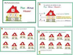 Plus-Minus Häuser Math Vocabulary, Teaching Math, First Grade, Homeschool, Classroom, Education, Holiday Decor, Kids, School