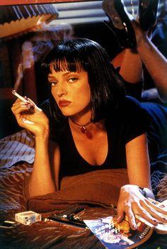 "1994 Bill Fletcher(wig by) - Uma Thurman as Mia Wallace in ""Pulp Fiction"" Uma Thurman Pulp Fiction, Arte Do Pulp Fiction, Film Pulp Fiction, 90s Movies, Cult Movies, Movie Tv, Indie Movies, Action Movies, Movie Scene"
