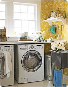I like the idea of wallpaper in a laundry room.