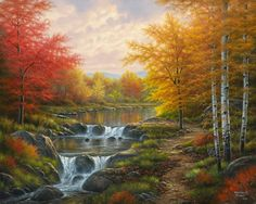 """D'Abraham Hunter © """" autumn glory """" 12-Beaux tableaux d' Abraham Hunter. """"This American artist very kindly allowed me to post his work on my blog and I thank."""" http://pussycatdreams.centerblog.net"""