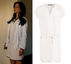 Elementary season 2 finale, episode 24: Joan Watson's (Lucy Liu) cream/white dress with eyelet details from Comptoir des Cotonniers #elementary #joanwatson #lucyliu