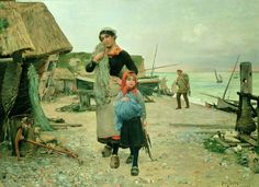Global Gallery 'Fisherfolk Returning with Their Nets' by Henry Bacon Painting Print on Wrapped Canvas Size: Painting Frames, Painting Prints, Art Prints, Oil Paintings, Painting Art, Bacon Painter, Bacon Pictures, Thing 1, Oil Painting Reproductions