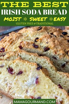 Sweet Irish Soda Bread has a golden, crunchy, sweet crust with a moist, buttermilk interior, and tangy cranberries dotted throughout. This easy quick bread recipe mixes up in minutes and has gluten free adaptations included! Irish Desserts, Irish Recipes, Asian Desserts, Irish Drinks, Moist Irish Soda Bread Recipe, Irish Bread, Baking Soda Bread Recipe, Gluten Free Irish Soda Bread Recipe, Easy Bread Recipes
