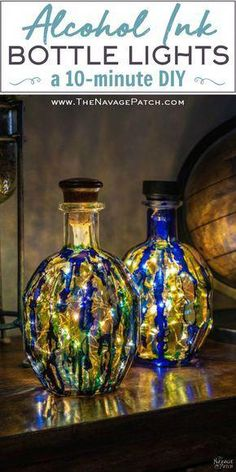 Alcohol Ink Bottle Lights (a DIY) - The Navage Patch- Alcohol Ink Bottle Lights (a DIY) – The Navage Patch Lydia Frazier tcljfrazier Christmas ideas Alcohol Ink Bottle Lights Alcohol Ink Glass, Alcohol Ink Crafts, Alcohol Bottles, Alcohol Ink Painting, Bottle Painting, Bottles And Jars, Crafts With Glass Bottles, Painting On Glass, Lighted Wine Bottles