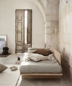 Embracing the beige interior trend with Ferm Living collection - soft beige bedroom with ochre accents # Solid Oak Table, Japanese Furniture, Japanese Interior, Japanese Home Decor, Turbulence Deco, Decor Inspiration, Burke Decor, Nordic Design, Plywood Furniture