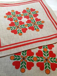 Swedish Mid century vintage set of 2 tablecloths from the 60s. Scandinavian design with hearts and circles.