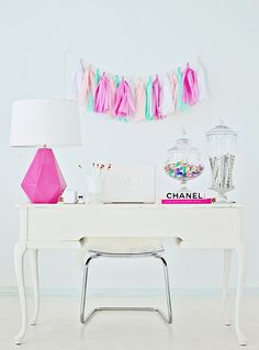 Pink & White Office