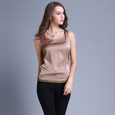 Womens Summer Silk Tank Tops Ladies Blouses Mesh Cute Sleeveless Solid Color O Neck Casual Debardeur T Shirt Vest Tops Canotta