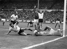 West Germany's Wolfgang Weber starts to celebrate after scoring past England's goalkeeper Gordon Banks for an equaliser in the last minute of normal. Bobby Moore, 1966 World Cup, Fifa World Cup, Gordon Banks, Stock Pictures, Stock Photos, England, World Cup Final, Bbc Broadcast